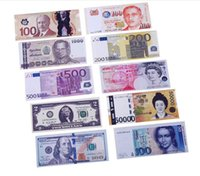 Wholesale 100Pcs Various Countries Printed Creative Money Euro Pounds Wallet Fashion Dollar Purse Wallet Card Holders Children Kids Gift Presents