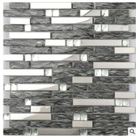 Wholesale Supply mirror black glass mosaic ceramic tile living room art TV background wall D