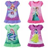 Wholesale DHL Mermaid Frozen Sofia baby girls pajamas nightgown Cotton Cartoon Ruffle hem extra comfy clothes children dresses Kids clothing