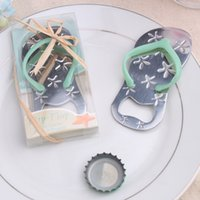 beer flip flops - Flip Flop Metal Starfish Design Beer bottle opener Slipper with Blue Beach Wedding Door Gifts for Guest