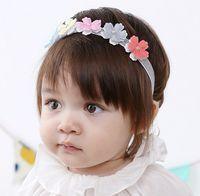 beaded headwear - 2016 Toddler Baby Girl Colorful Flower Beaded Cotton Headband Baby Pretty Headwear New Born Photography Hair Accessories K7560