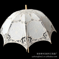 Wholesale Fashion Hot Sale victorian bridal bamboo Lace Parasols vintage large Wedding Umbrella white lace umbrella cottons lace parasol