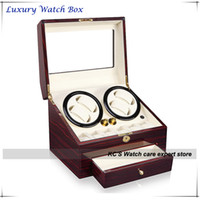 Wholesale Quality Red Leather amp Wood Watch Winder for RLX Storage Display Case Box With A Drawer GC03 D66EW F