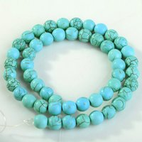 turquoise beads - A Strand Round Loose Turquoise Charm Spacer Beads For Jewelry Making Bracelet Necklace mm mm mm mm