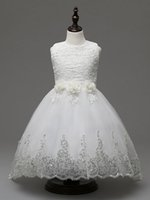 Wholesale 2016 New Arrival Kids Christening Dresses Party Ball Gown Dresses Bow Sash Girls Party Wedding Dresses For Kids