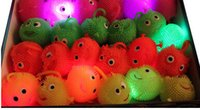 Wholesale 576pcs New funny light up toys soft rubber glowing bouncy balls mix color flash luminous smile maomao ball for party