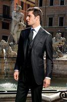 Wholesale Fashion Style Two Button Black Stripe Groom Tuxedos Groomsmen Men s Wedding Prom Suits Bridegroom Jacket Pants Vest Tie