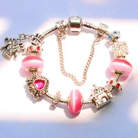 african glass beads - 2016 Hot Sale pink opal stone charm pandora style bracelets with glass Beads for mother s day gift BR160407015