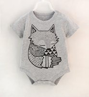 Boy animal print outfits - 2016 Infant rompers Boys Girls short sleeve Bodysuit spring summer cartoon fox cat animal print Kids Outfit m styles
