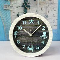 Wholesale European Mediterranean ocean wind do the old retro wooden desktop clock alarm clock jellyfish crab pastoral home decoration