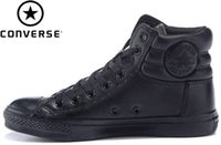 converse leather - Original The Terminator Shoes PU leather For Men Women s Sneakers Casual High Top Black White Red EUR Skateboarding