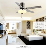 Wholesale Simple stylish restaurant Fan light ceiling fan lights LED living room lamp stainless steel leaf fan remote control with lamps