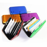 Wholesale High Quality Fashion Various colors Pocket Waterproof Business ID Credit Card Holder Wallet Aluminum Metal Case Glossy Box Tool