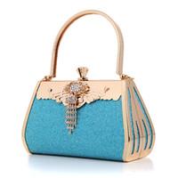 Wholesale 2016 new blingbling crystal evening bags wedding banquet evening party handbag day rhinestone clutch bags fashion metal bag