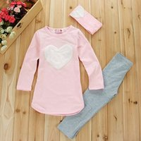 band pajamas - Christmas Outfits Pajamas pc Hair Band pc Shirts pc Pants Children s Clothing Set Girls Clothes Suits Pink Red Heart