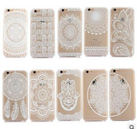 Белых слонов Цены-Хенна Белый Цветочный Пейсли Цветочный Мандала Слона Мечта Уловителя Жесткий Задний Корпус для ПК для iPhone 7 6 6S Plus 5S SE