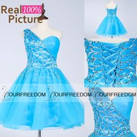 Wholesale 100 Real Image In Stock Sky Blue Short Party Dresses Mix Style One Shoulder With Sparkly Crystal Cheap Prom Homecoming Dresses SD339