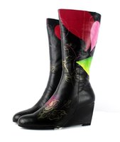 b w motorcycle - Fashion Women s Floral Printing Genuine Cow Leather Knee High Winter Warm Sheepskin Fur Riding boots W High Wedge Heels