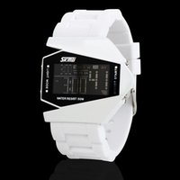 aircraft blue water - 2016 Hot SKMEI Brand Luxury Casual Aircraft Shape Couples Watch Cool LED Display Back light Women Men Watches Water Resistant Depth m
