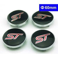 Wholesale 60mm Car Styling ST Emblem Badge Wheel Hub Caps Centre Cover ST Covers for Ford Focus Focus FIESTA Kuga FUSION ESCAPE EDGE