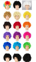 adult joker costumes - Unisex Clown Fans Carnival Wig Disco Circus Funny Fancy Dress Party Stag Do Fun Joker Adult Child Costume Afro Curly Hair Wig party props