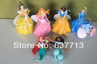 belle keychain - 5sets New shiny princess keychain pvc Ariel Cinderella Snow white Belle Aurora Cartoon Figure Toy Set of