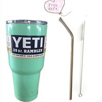 Wholesale 30oz Rambler Tumbler Bilayer Stainless Steel Insulation OZ Cup with free brend steel Drinking Straw Straws Cleaning Brush Set