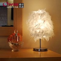 decorative buttons - Creative gift feather Table Lamps bedroom bedside lamp decorative lamp feather light button lamp new