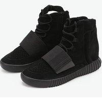 al por mayor hombres botines-1: 1 del tobillo 750 Boost Kanye West botas de cuero de los hombres de corte a mediados de los zapatos corrientes del deporte Calzado deportivo tamaño de los EEUU 3.5-14