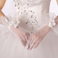 Wholesale Korean Silk Short Dress - Hot Refers to the bride gloves Korean short transparent lace white wedding dress accessories dress gloves