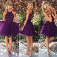 Wholesale 2016 Cheap Graduation Dresses Halter Purple Tulle Crystal Beaded A Line Short Mini Party Homecoming Dress Open Back Formal Cocktail Gowns