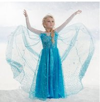 Cheap Hot Selling!!! Samgami baby elsa frozen fever dress blue snowflake dress long cape dress elsa queen costume free shipping in stock