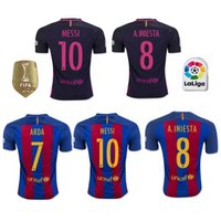 Wholesale AAA2016 Top thai Barcelona jerseys MESSI ARDA A INIESTA SUAREZ SERGIO PIQUE I RAKITIC NEYMAR JR home and away Football shirts