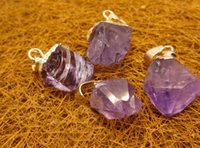 Wholesale 10pcs 18K gold plated Natural purple crystal stone charms jewelry fit genuine necklace jewelry high top quality
