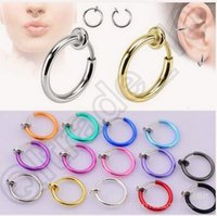 Wholesale Nose Rings Body Art Piercing Jewelry Fashion Jewelry L Stainless Steel Nose Open Hoop Earring Studs Fake Nose Ring LJJC4466