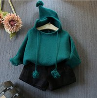 western clothing - South Korean children s clothing fall new girls western style ball modify the bat sleeve short knitting wool