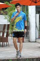 Wholesale 2016 Table Tennis Shirt Set Tennis Shirt Shorts Men Badminton wear T shirt Functional Dry Sport Suit Polyester