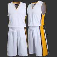 Wholesale 2016 Hot Men s Basketball Clothes Set Male Sports Basketball Jersey Sleeveless Stripe Training Shirt Absorb SweatShorts Set Size L XL QP053