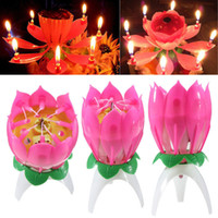 Wholesale Musical Candle Musical Lotus Rotating Happy Birthday Candle Lights Red Musical Candle Flower Candle Music Flower Birthday Candle
