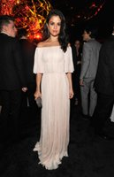 Wholesale Selena Gomez Off The Shoulder Puffy Sleeve Sexy Celebrity Dress A Line Romatic Long Evening Dress Prom Party Gown Vestido Longo