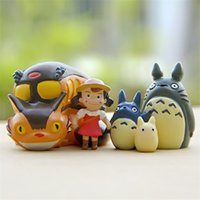 Wholesale Hayao Miyazaki Blue Cat Briquettes Bus Stand Totoro micro landscape doll Totoro Action Figure Collection Model Toy for Kids Gift Home Decor