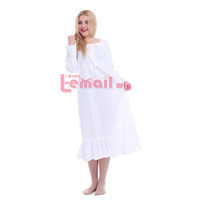 Wholesale Full Sleeve Vintage White Cotton Long Nightgowns for Women