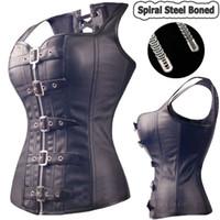 Wholesale Black Spiral Steel Boned Steampunk Overbust Corset Bustier Top Dress SEXY G string Lingerie Women Corsets Plus Size S XL