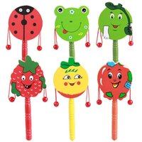 Wholesale Baby Kid Child Shaking Wooden Rattle drum Musical Hand Bell Drum Toy Gift A00050 SMAD