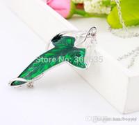 El envío libre 100pcs / lot del Señor de Elven El verde de la hoja de la broche colgante con el collar de cadena 0420qqzq