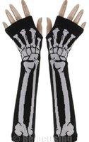 Wholesale Newly Design Punk Skull Glove Black Long Arm Warmer Fingerless Gloves Dec30