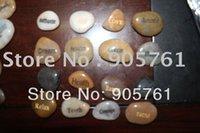 Wholesale Freies verschiffen graviert fluss stein poliert wort stein stein