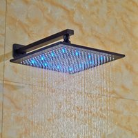 Wholesale And Retail LED Colors Changing Oil Rubbed Bronze Square Rain Shower Head Wall Mounted Shower Sprayer Shower Arm