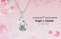 Wholesale Lingdong Fashion Angel s Feather wNecklaces Pendants Genuine Sterling Silver Necklace For Women Wedding Gift
