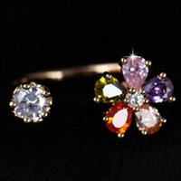 annulus plant - High End Fine Jewelry Accessories Crystal Water Drop Flower Engagement Bride Finger Annulus Open Adjustable Wedding Bands Rings For Women